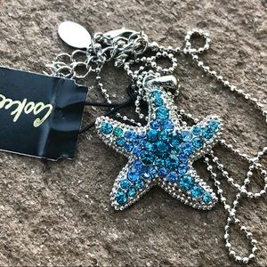 Starfish Necklace Blue Crystals Cookie Lee